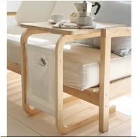 Мобильный прикроватный мини-столик (квадрат). Цвет: белый. Ножки: ольха
