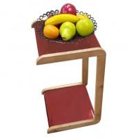 Мобильный прикроватный мини-столик (квадрат). Цвет: красный. Ножки: ольха