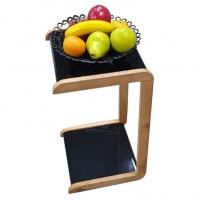 Мобильный прикроватный мини-столик (квадрат). Цвет: черный. Ножки: ольха